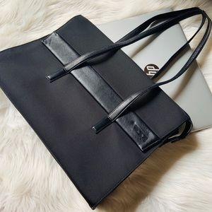 "TUMI 15"" leather trim laptop bag"
